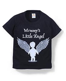 Hippo&Son Mommy's Little Angel Print T-Shirt - Black