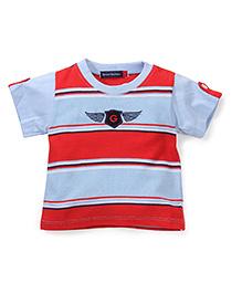Bob Street Short Sleeves G Print T-Shirt - Red & Blue