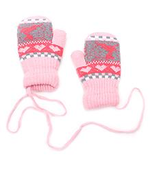Model Knit Design Hand Gloves With String - Light Pink