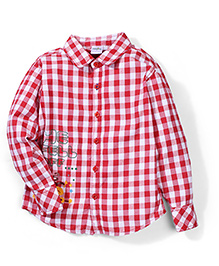 Babyhug Full Sleeves Checkered Shirt - Red