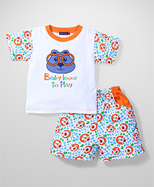 Great Babies Half Printed Sleeves T-Shirt & Short Set - White & Orange