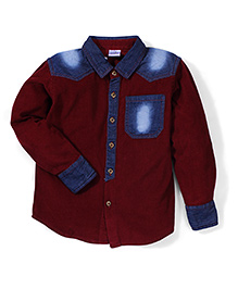 Babyhug Full Sleeves Corduroy Shirt - Maroon