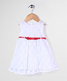Bebe Wardrobe Sleeveless Net Party Frock - White