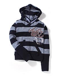 Little Kangaroos Striped Hooded Sweatshirt - Black & Grey