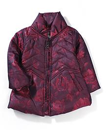 Little Kangaroos Floral Print Quilted Jacket - Maroon