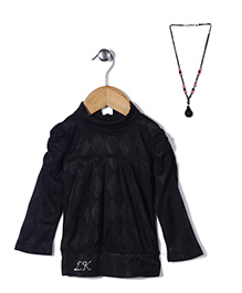 Little Kangaroos Party Wear Top With Necklace - Black