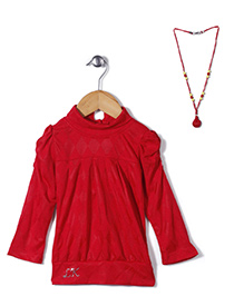 Little Kangaroos Party Wear Top With Necklace - Red