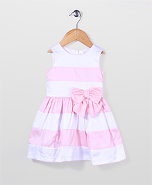 Bebe Wardrobe Party Frock With Bow Applique - White & Pink