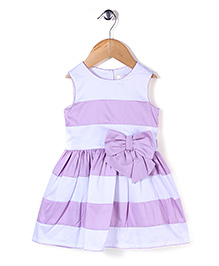 Bebe Wardrobe Party Frock With Bow Applique - White & Purple