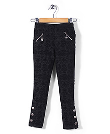 Lei Chie Jeggings With Self  Flock Design - Black