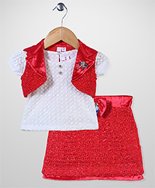 Lei Chie Skirt Top & Jacket Set - Red