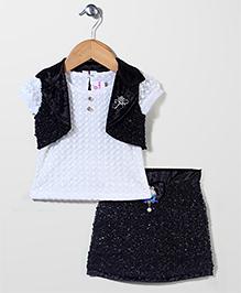 Lei Chie Skirt Top & Jacket Set - Black
