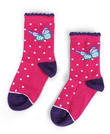 Mustang Anklet Socks Butterfly Design - Fuchsia