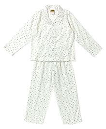 Hugsntugs Small Heart & Dot Print Nightsuit - White