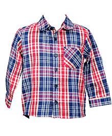 Hugsntugs Smart Plaid Pattern Shirt - Red & Blue