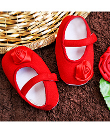 D'chica Shoes Chic Rose Motif Shoes - Red