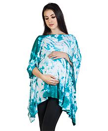 Blush 9 Maternity Poncho Style Top Shibori Print - Blue