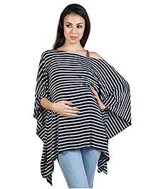 Blush 9 Maternity Stripe Poncho Style Top  - Blue White