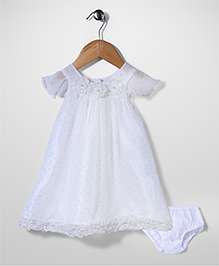 Bebe Wardrobe Short Sleeves Frock With Bloomer - White