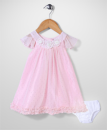 Bebe Wardrobe Short Sleeves Dress With Bloomer - Pink