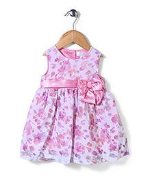 Bebe Wardrobe Sleeveless Floral Frock Bow Applique - Pink