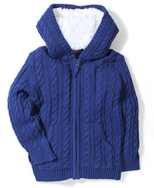 Mothercare Hooded Zip Through Sweater - Navy Blue