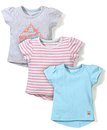 Mothercare Short Sleeves Top Set of 3 - Sea Blue Pink Grey