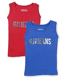 Gini & Jony Sleeveless Logo Print Vest Pack Of 2 - Red Blue