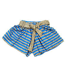 Tiny Toddler Striped Print Shorts - Grey & Blue