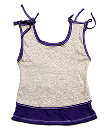 Tiny Toddler A-line Knot Top - Purple & Grey