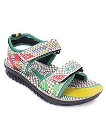 Footfun Floater Sandals - Cream & Green