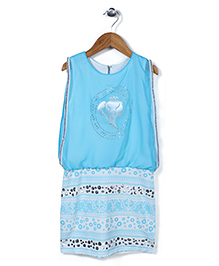 Lei Chie Girls Face Print Dress - Blue
