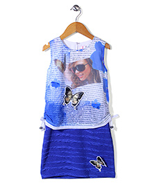 Lei Chie Digital Print Dress With 3D Butterfly - Blue