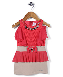 Lei Chie Off Shoulder Casual Dress With Bow - Pink & Beige