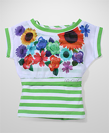 Lei Chie Casual Top with Floral Digital Print & Stripes Design - Green