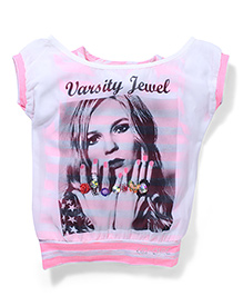Lei Chie Casual Top with Digital Print & Stripes Design - Pink