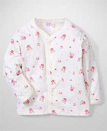 Pink Rabbit Full Sleeves Vest Floral Print - Pink And White