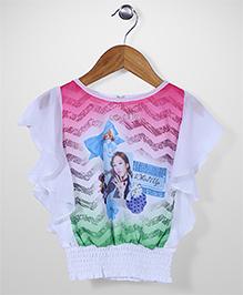 Leichie Digital Design Casual Top - White & Pink