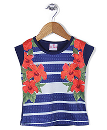 Lei Chie Casual With Digital Flower Print & Stripes Top - Blue