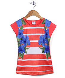 Lei Chie Casual With Digital Flower Print & Stripes Top - Red
