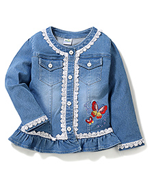 Bleeding Blue by Babyhug Full Sleeves Jacket Butterfly Embroidery - Light Blue