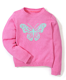 Mothercare Full Sleeves  Sweater Butterfly Design - Pink