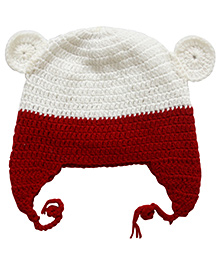 Nappy Monster Crochet Cap With Ears - White & Red