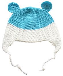 Nappy Monster Crochet Cap With Ears - White & Blue