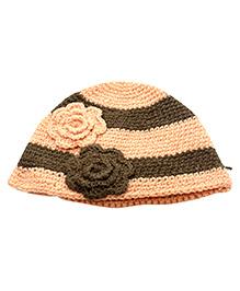 Nappy Monster Flower Stripped Crochet Cap - Peach & Brown