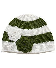 Nappy Monster Stripped Crochet Cap With Flowers - White & Green