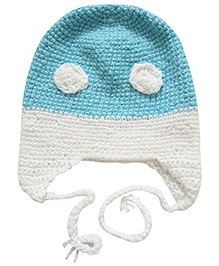 Nappy Monster Crochet Cap With Eyes - Blue & White