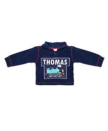 TONYBOY Thomas Train Applique Hooded Sweatshirt - Navy Blue