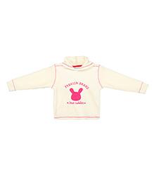 Eimoie Teddy Applique Hooded Sweatshirt - Off White