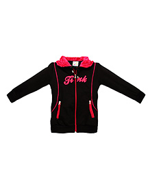 Eimoie Stylish Embroidery Hooded Jacket - Black & Pink